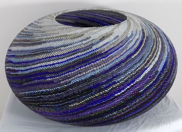 "24x12"" Beadweaving over an enormous glass vessel"
