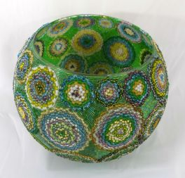 "10x8"" bead mosaic glass bowl by Mars"